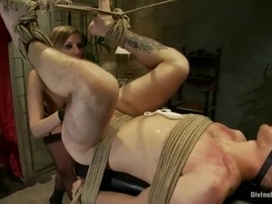 Kinky blonde mistress sits on guy's face and humiliates him