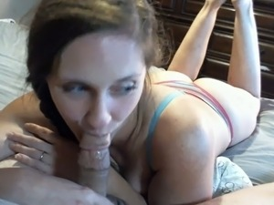 Sexy girl sucking my dick in POV when we make homemade sex tape at first time