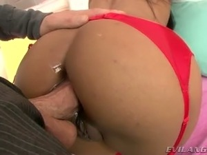Filthy ebony whore is butt fucked brutally in a doggy position