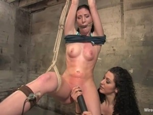 Dominant Lesbian Playing with Two Girls in Anal Toying with Sybian BDSM Fun