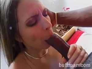 Lingerie-clad babe with perky tits enjoying a hardcore interracial fuck