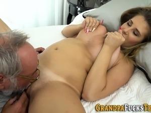 Slut rides old mans dick