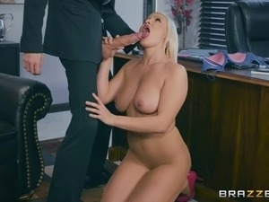 Office titjob and pounding makes a long dong burst quickly