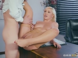Naughty secretary caught masturbating by her handsome boss