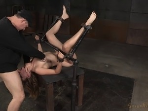 Foxy tart Mona Wales enjoys having her pussy pounded in the dungeon