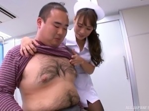 Fat guy's dick is all a cock craving brunette nurse wants to feel