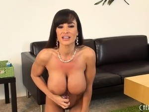 Fascinating cougar with big breasts Lisa Ann masturbates on the couch