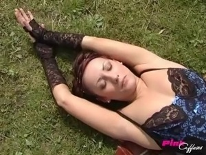 Claudia and Olesia wear black stockings during a naughty lesbian game
