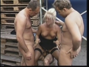 Older blonde slut gets gang banged by younger construction workers