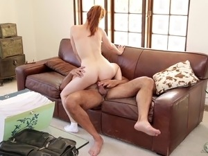 Sensual blonde tricks this guy for a cute fucking on the couch