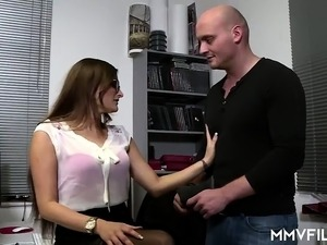 Hot German babe with glasses gets anally wrecked by her