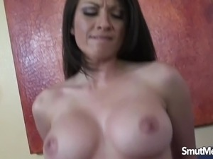 Brunette mom fucked and gets cums on her facial