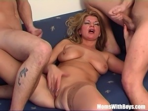 Busty Blonde Mom In Sexy Stockings Fucking Young Cocks