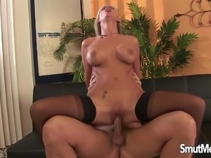 Super hot milf fucks and eats cum
