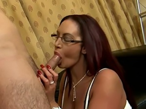 Mega busty 4 eyed bombshell Emma Butt gets naughty with young stud on leather...