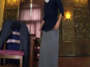 Fat arab man Hungry Woman Gets Food and Fuck