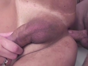 Blonde shemale enjoys a nice fucking session with a randy guy