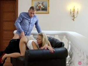 Blond Czech bombshell gets fucked out of her sexy dress