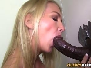 Busty Blake Rose Sucks Black Gloryhole Cocks