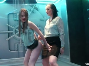 Gorgeous and sassy white bitches in sexy outfit stand under the shower