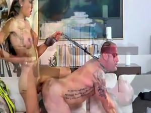 Huge boobs brunette tranny Venus Lux fucks hunk dude in ass