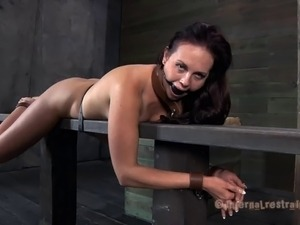 Sexy brunette spanked lovely while yelling in BDSM shoot