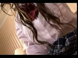 Japanese schoolgirl rides guy and strokes.