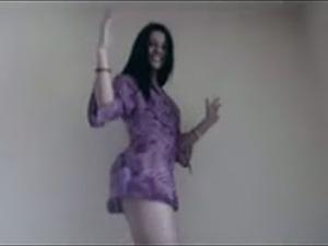 Desirable Arab girl dancing teasingly on webcam