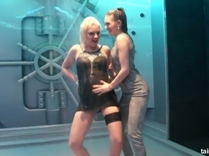 Adorable and sassy white chicks in office outfit dancing under the rain