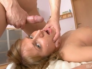 Pigtailed coed Ludmila has to make love with her boyfriend