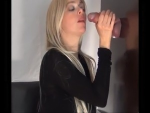 Glory hole blowjob with cumshot on clothes