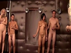 Hot chicks paint their bodies at swingers party