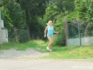 Smoking blond woman Ivana C wanna join old couple to have casual sex