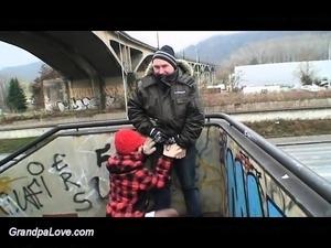 teen gets fucked by grandpa in public