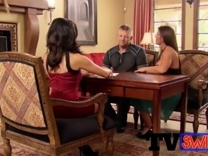 Couple plays sex games with swingers