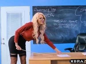 Immens curves teacher blonde fucks her student in class