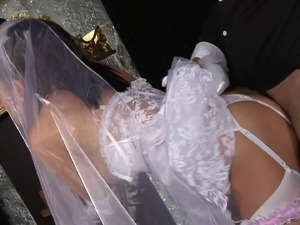 Sexy Bride Tanya Cox in nylon stockings is being drilled hardcore
