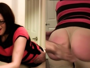 old woman spanking young girl