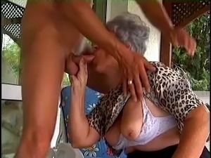 White fat grandma loves to pleasure a young man with blowjob