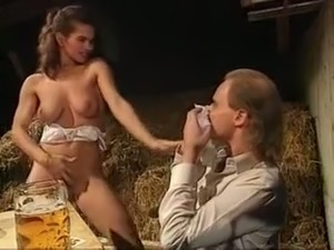Busty white blonde milf sucking cock and flashing her tits