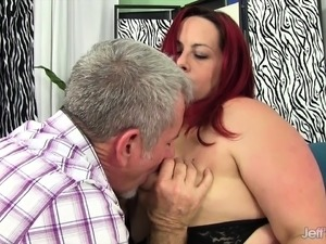 Horny red headed plumper sucks her boyfriend's fat dick and
