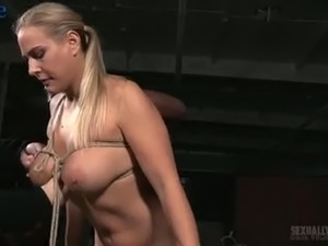 Breast bondage is the thing Angel Allwood gets from two dominant studs