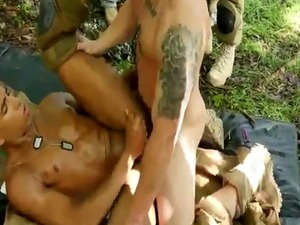 Erotic male soldiers gay first time Jungle plow fest