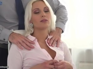 Gorgeous blond milf Cecilia Scott gets double penetrated in the office