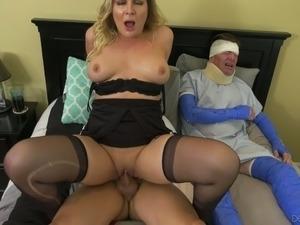 Blair Williams is riding doctor's dick in front of her bedridden hubby