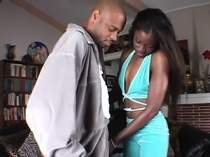 Ebony threesome with one big black hard cock