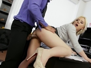 Anna Ray and Victoria Pure are office workers ready for a threesome