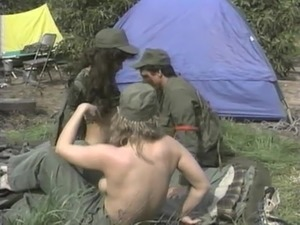 Glorious army outdoor threesome with insatiable participants