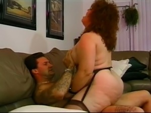 Amateur red haired BBW with some curls gets banged from behind