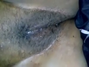 Fingering and rubbing my black GF's hairy pussy in amateur clip